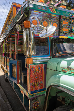 colourful vintage buse called 'chiva' in Colombia