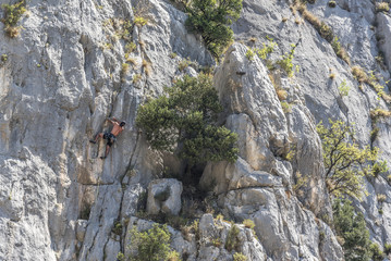 A young climber climbs the cliff wall.