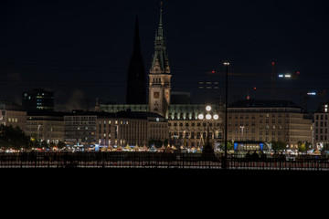 nightly panorama of Hamburg - Inner City with full moon