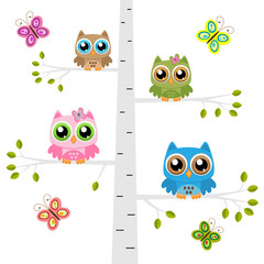 Owls on a tree with butterflies