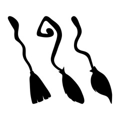 witch broom silhouette cartoon vector symbol icon design. Beautiful illustration isolated on white background