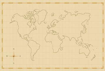 Vintage world map old hand drawn illustration art