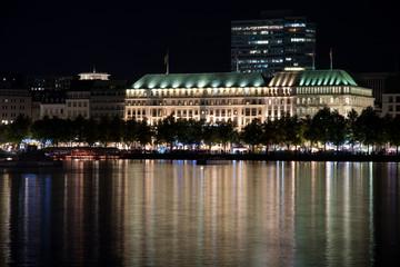 nightly panorama of Hamburg - Inner City with laser beam