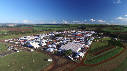 SAO PAULO, BRAZIL - May 1, 2017: Aerial view of Agrishow, 24th International Trade Fair of Agricultural Technology taking place in Ribeirao Preto.