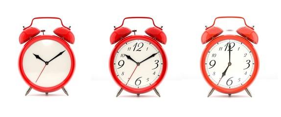 Set of 4 red alarm clocks