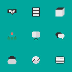 Vector Illustration Set Of Simple Trade Icons. Elements Diagram, Structure, Square And Other Synonyms Meeting, Credit Card And Increase.