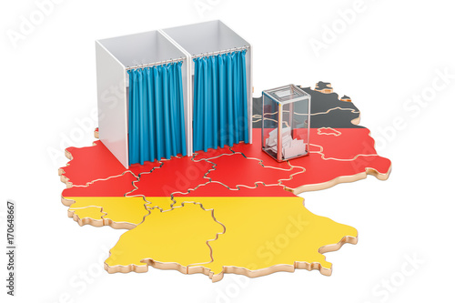 Map Of Germany 3d.German Election Concept Ballot Box With Voting Booths On Map Of