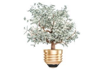 Investment or energy savings concept. Lightbulb with money tree inside, 3D rendering