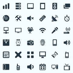 Vector Illustration Set Of Simple Digital Icons. Elements Photographing, Date, Karaoke And Other Synonyms Sandglass, Phone And Disk.
