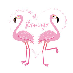 Vector illustration pink flamingo couple. Cool flamingo decorative flat design element.