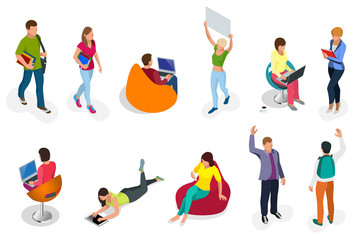 Isometric set of students with gadgets and books. Isometric young people, teenagers and students. Learning, education and school concept. on white background isolated.