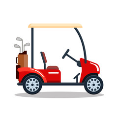 Vector electric golf car with golf club bag. Transport, vehile isolated on white background