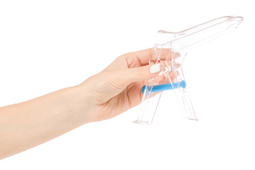 Female hands gynecological mirror examination gynecologist isolation