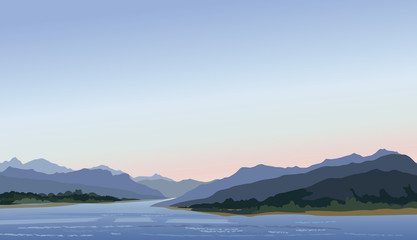 Rural landscape with hills, lake. Mountain skyline Waterfront view