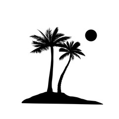 Palm tree silhouette. Summer holiday nature background. Beach resort view