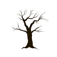 Tree without leaves. Nature sign Winter forest symbol
