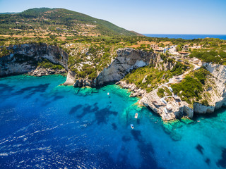 Aerial  view of  Agios Nikolaos blue caves  in Zakynthos (Zante) island, in Greece
