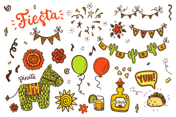 Hand drawn doodle Mexican holidays  icons vector set