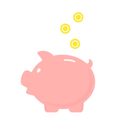 Piggy bank with falling coins. Vector icon. Save money