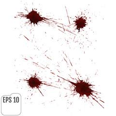 Realistic blood splatters. Elements of design for halloween. Vector illustration.