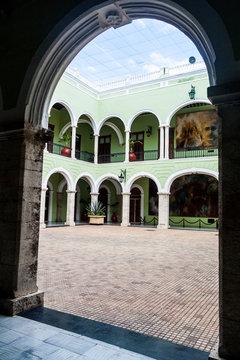 Inner courtyard of Palacio de Gobierno (Government Palace) in Merida, Mexico.