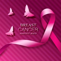 Breast cancer awareness pink ribbons.
