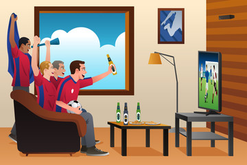 Soccer Fans Watching TV
