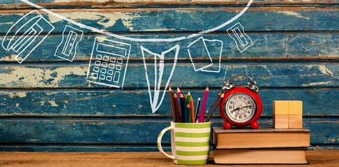 Composite image of illustration image of school supplies
