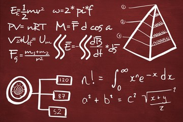 Composite image of mathematical equations with triangle shape