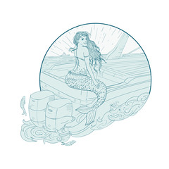 Mermaid Sitting on Boat Drawing