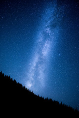Milky Way above the night mountain forest
