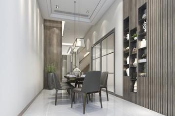 3d rendering modern nice wood restaurant and dining zone near shelf decor