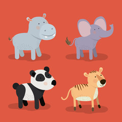set animal caricature of zoo in color background vector illustration