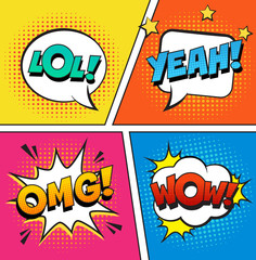 Stylish retro comic speech bubbles set on colorful halftone background. Expression text LOL, OMG, WOW, YEAH. Vector illustration, vintage design, pop art style.