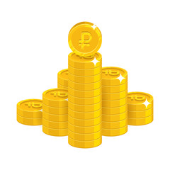 Mountain gold rubles isolated cartoon icon. Bunches of gold rubles and ruble signs for designers and illustrators. Gold stacks of pieces in the form of a vector illustration
