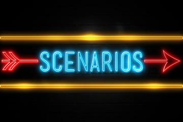 Scenarios  - fluorescent Neon Sign on brickwall Front view