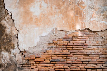 Old orange brick wall in antiquity