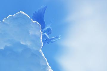 Angel flying in sky Wall mural
