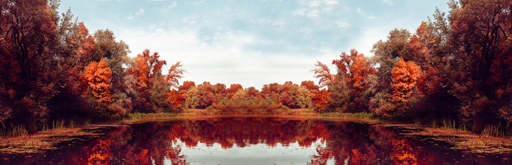 Autumn Panorama. Fall scene. Beautiful Autumnal park. Beauty nature scene. Autumn landscape, Trees and Leaves, Reflection on the water