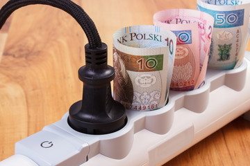 Rolls of polish currency money in electrical power strip with connected plug