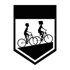 cycling people riding a bicycle frame vector illustration design