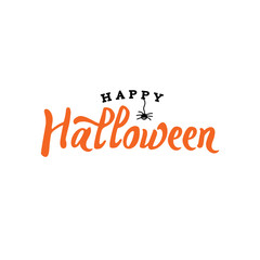 Happy Halloween Typography with Spider Over White, Vector Illustration
