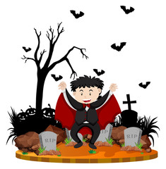 Graveyard scene with vampire and bats
