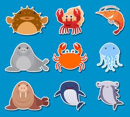Sticker design for sea animals