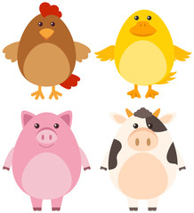 Four different kinds of farm animals