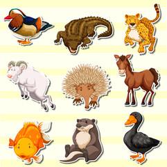 Wild animals in sticker set