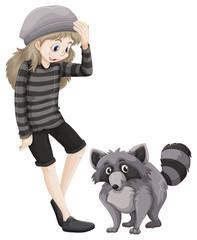Girl and gray raccoon