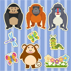 Sticker design for different types of monkeys