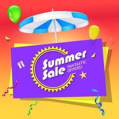 Summer sale, special offer sales banner with umbrella, slippers and starfish on bright, festive background. Design of summer promotional poster, editable 3D illustration.