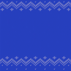 Blue knitted background with classic pattern, editable resizable illustration